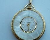Vintage Lucerne Pocket Watch Pendant, MOP Face, Gold Tone Case, 3014