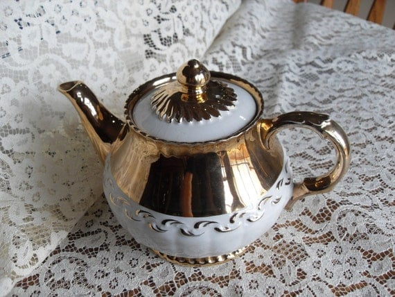 Vintage Shiny Gold on White Formal Teapot, Made in England 2801