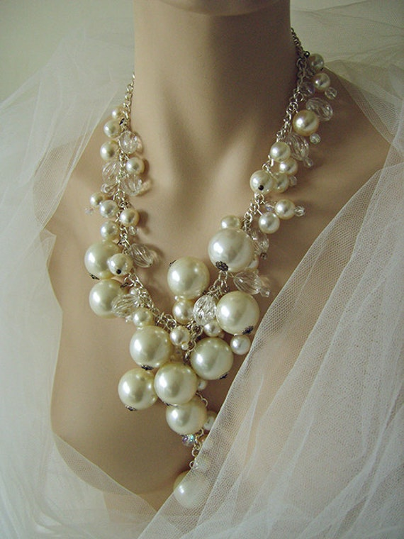 Pearl And Crystal Statement Necklace By Moonmommas On Etsy