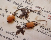 Leafy romance earrings - copper leaves and orange dreams