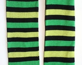 Light and Kelly Green Stripe Shamrock St. Patrick's Day BeezLegz: Baby/Toddler/Child Leggings & Adult Arm Warmers