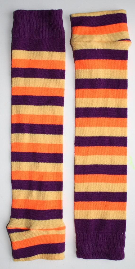 Orange, Purple, Yellow Stripe BeezLegz: Baby/Toddler/Child Leggings & Adult Arm Warmers