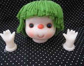 Vintage Girl Doll Head with Green Hairs with hands from 1980's