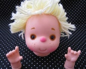 Vintage Girl Doll Head with Spiky Blonde Hairs with hands from 1980's