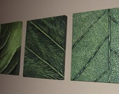 Abstract Art, Leaf Painting Set, Macro painting, abstract wall art, original green paintings