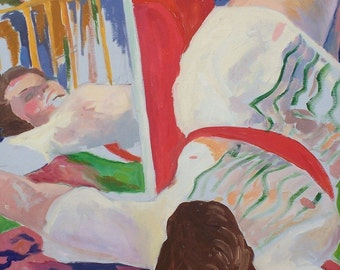 Original Abstract Oil Painting of Live Model Reclining with a mirror home decor, wall art