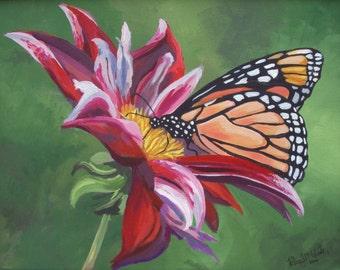Butterfly Note Card, flower card, blank card, art card