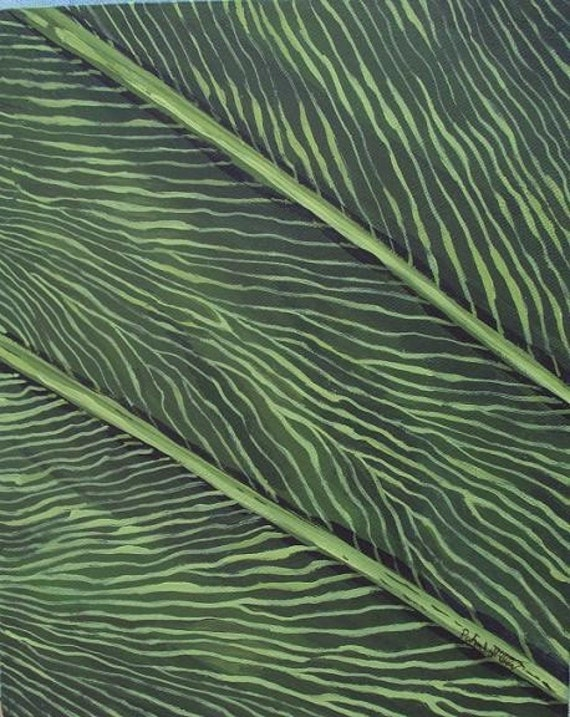 A Jazzy Leaf - Macro Painting- close up of leaf - Abstract Art - Original Painting