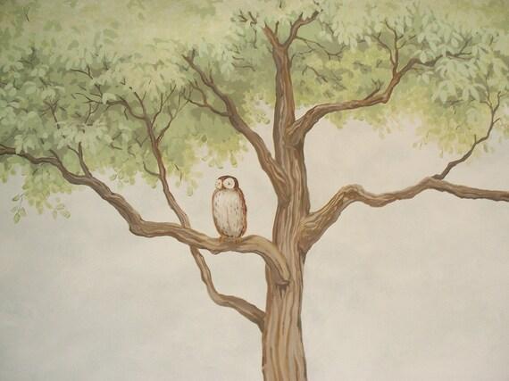 Owl Nursery  wall Mural, home decor, nursery decor,  kids room painting,  10' x 9' mural on canvas