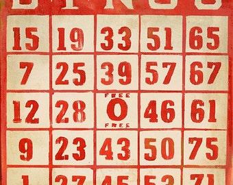 "vintage bingo - 8""x8"" art print"