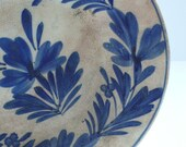 MAGNIFICENT 1800s Hand painted blue plate / bowl from England