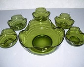 CLEARANCE ITEM ---  Anchor Hocking Green Glass Server Bowl and 5 Berry Bowl Set -- Berry Bowl or Chip Bowl or Ice Cream Bowl Serving Set