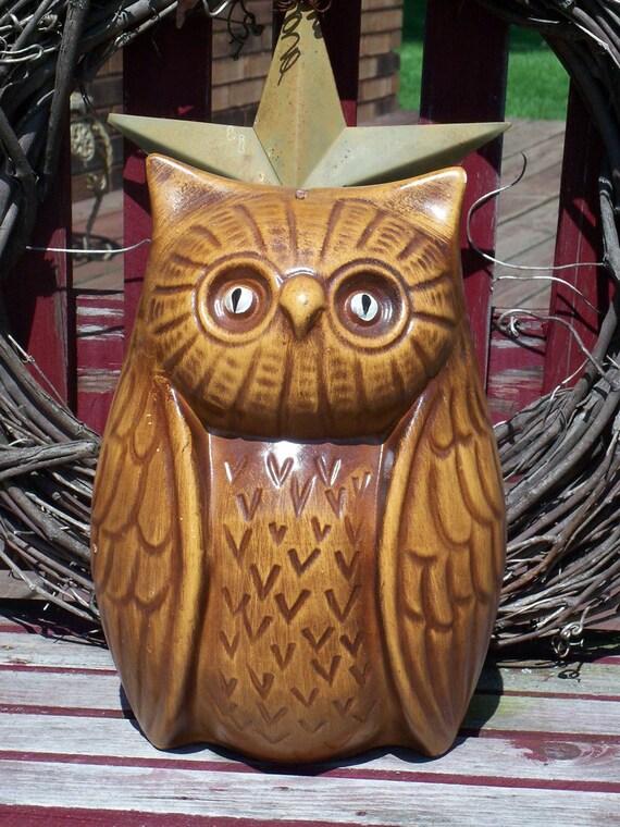 HUGE Vintage Retro Owl BANK Retro Style Wise Owl Saving -- Japan Ceramic Glass Figurine Sculpture Piece with Original Stopper