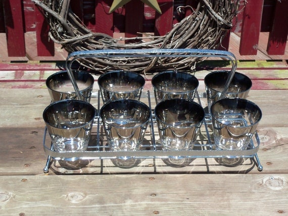 Set of 8 Dorothy Thorpe Mid Century Eames Silver Ombre Double Shot Glass Glasses Set (No Caddy) - As Seen On Mad Men