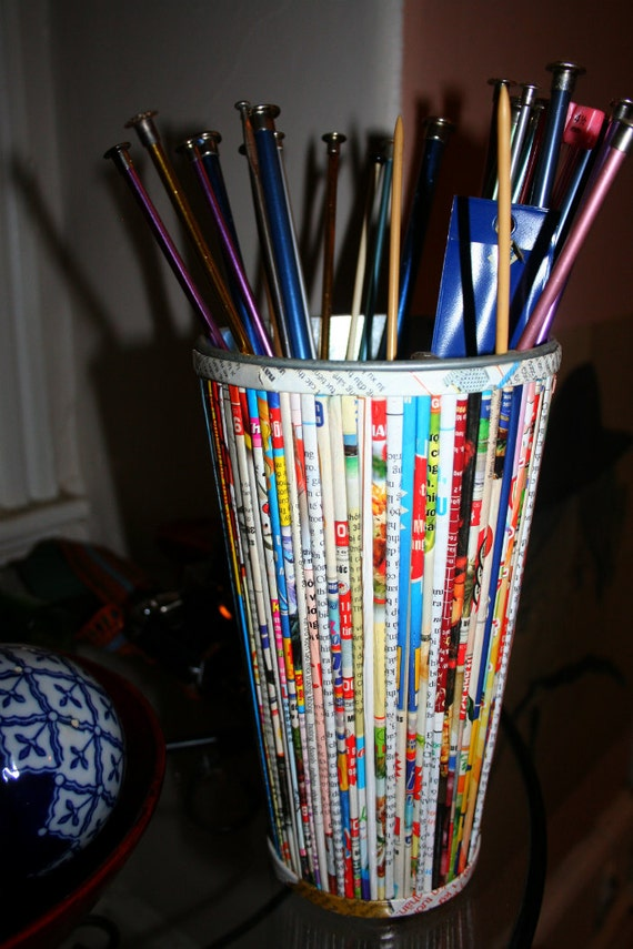 RECYCLED magazine pencil holder