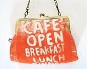 Shoulder bag with convertible chain strap, tangerine orange 'London Cafe' design