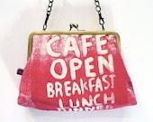 SALE Shoulder bag in colour pop Hot Pink 'London Cafe' design