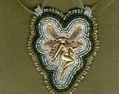 She Shines in the Forest bead embroidered pendant
