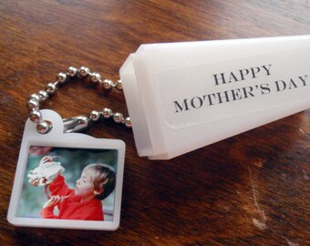 Custom Mothers Day gift. Your Photo & Words. Viewfinder Keychain.