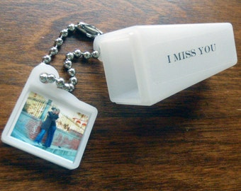 PERSONALIZED, Your IMAGE & WORDS. Say I Miss You with this Viewfinder Keychain