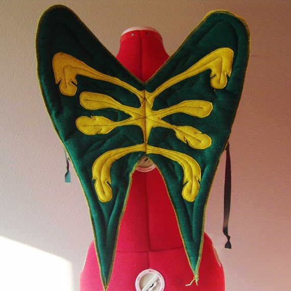 SALE, WING DESIGN attempt, skeleton like, green and yellow, bird wings