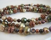 Pearl Cuff Bracelet Triple Strand Moss Green Copper Brown