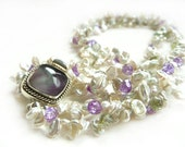 Multi Strand Keshi Pearl Necklace with Statement Fluorite Box Clasp - Fine Jewelry