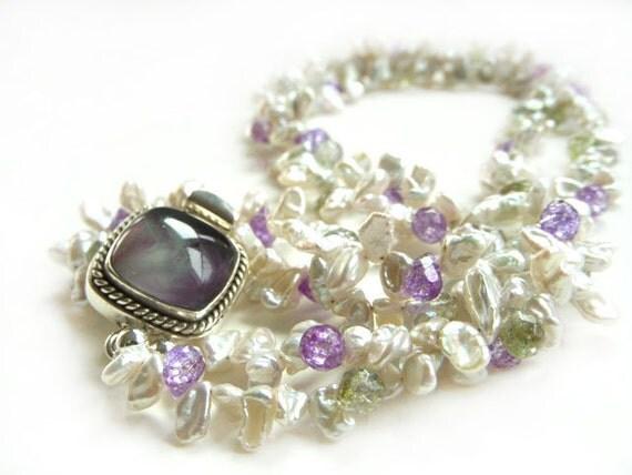 Multi Strand Keshi Pearl Necklace with Statement Fluorite Box Clasp - Fine Jewelry