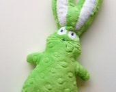 Lime Green Little Bunny Fufu Minky Dot Rice Bag Bunny