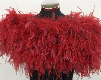 FLAPPER - HOLLYWOOD 1930s GLAMOUR - Luxurious Red Ostrich Feather Stole Wrap Shrug