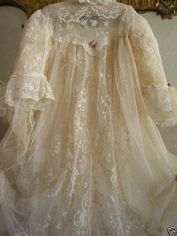 Exquisite Ethereal Antique Lace Couture Christening Gown