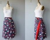 1970s skirt / 70s wraparound skirt / novelty skirt / Strawberry Print skirt- size small , medium
