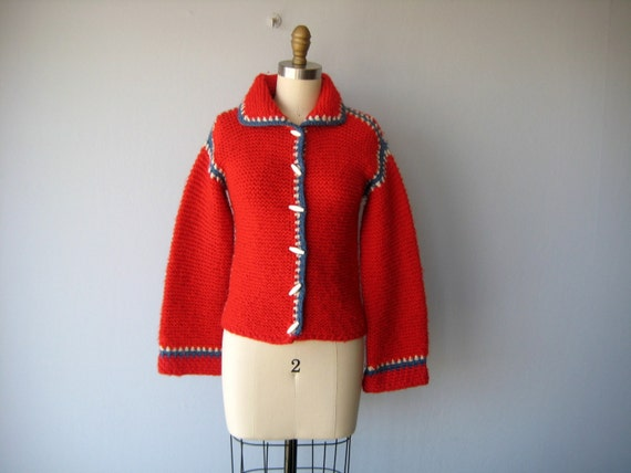 vintage handknit cardigan / heavy wool sweater / red wool sweater / 1970s cardigan - size small , medium