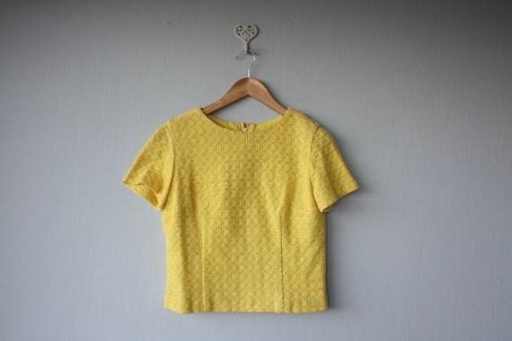 1960s top // 60s woven blouse // Lemon Yellow Cropped Blouse