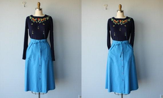 1970s midi skirt / 70s skirt / cotton twill skirt / Peacock Blue skirt - size small