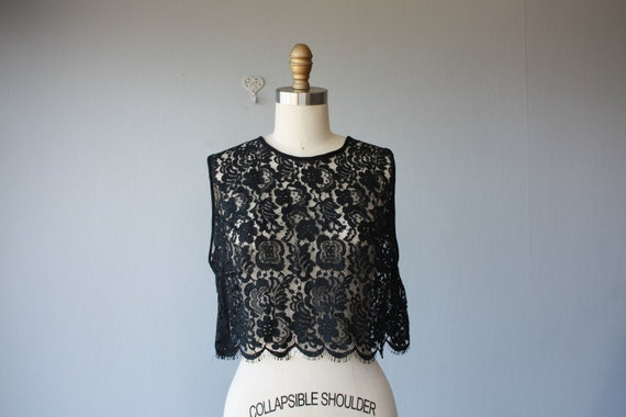 black lace shell / lace blouse / Belle du Jour blouse - size medium
