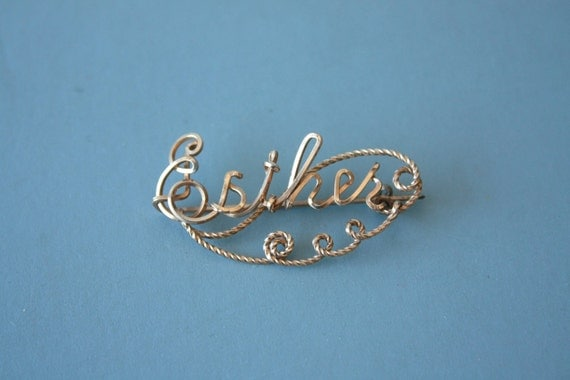 1940s gold wire name pin / 40s 12 kt gold fill name pin / Esther name brooch
