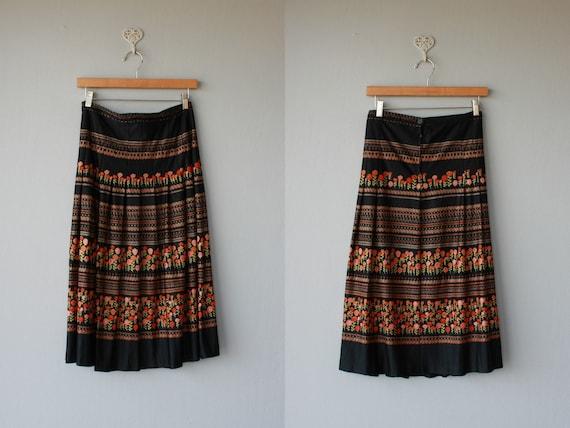1970s skirt / 70s skirt / midi skirt / pleated folk southwestern  skirt - size large