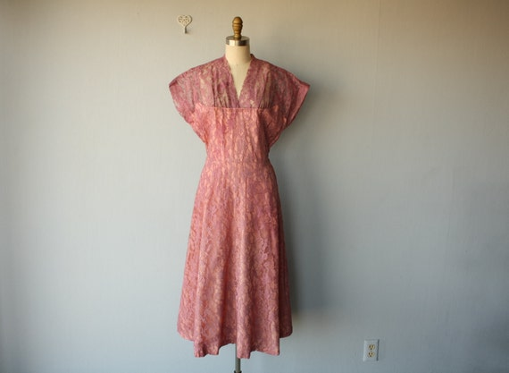 1950s dress / 50s party dress / 50s lace illusion dress / Rose Pink cocktail dress - size large, extra large