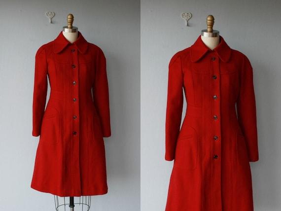 1960s wool princess coat / 60s coat / red coat / 1960s coat - size XS , small