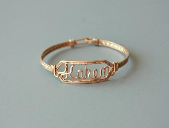 vintage 40s gold bangle bracelet / 1940s gold wire name bracelet / 12 kt gold filled name bracelet /  'Karen' metal name bangle