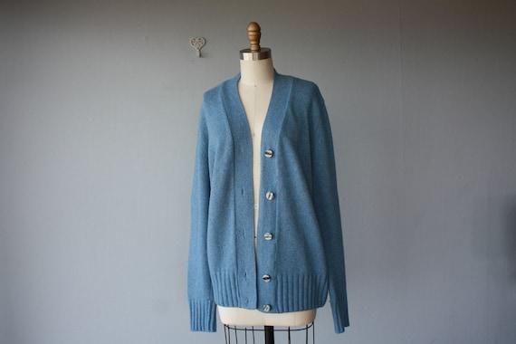 oversized cardigan / blue sweater / Italian Wool and Cashmere slouchy sweater - size medium