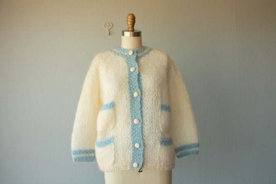 1950s cardigan / 50s sweater / Italian Wool cardigan / fuzzy hand loomed sweater - medium , large