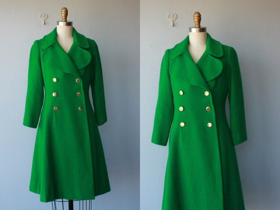 green coat / 1960s coat / 60s wool bouclè coat / double breasted a-line coat - size small