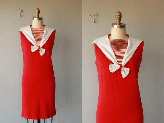 1960s nautical dress / 60s dress / Toe the Line dress - size small