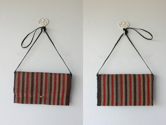 straw clutch / 1970s envelope clutch / woven purse /striped  summer bag