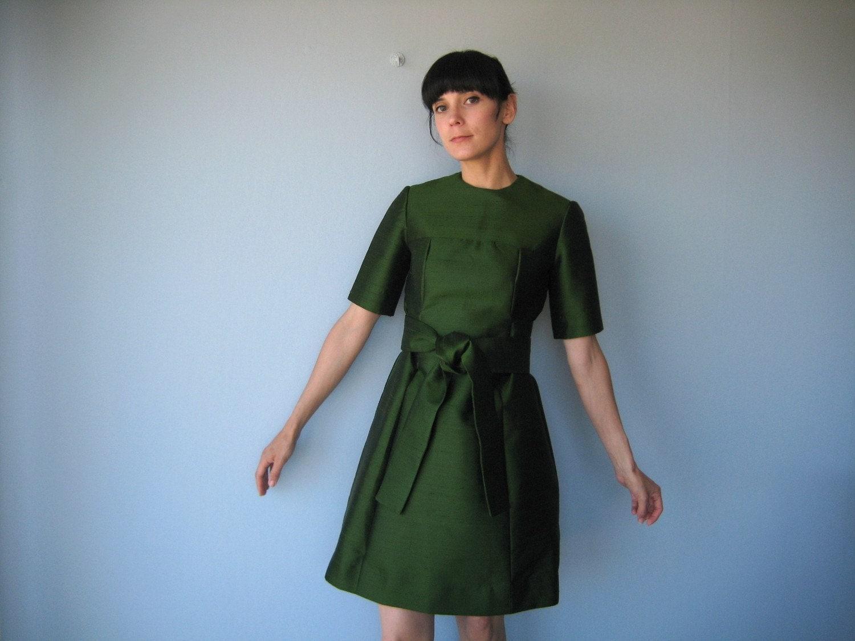 1960s Vintage Shantung Silk Dress By Custardheartvintage