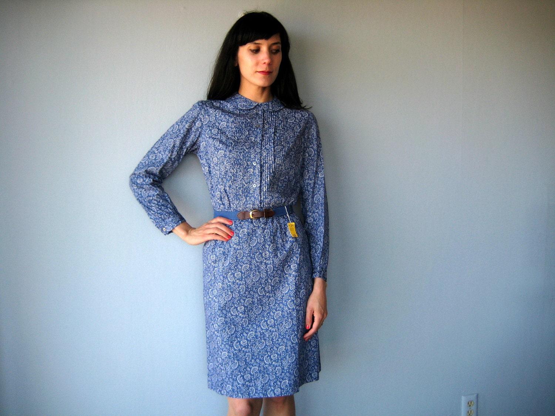 1960s Vintage Ladybug Belted Cotton Day Dress