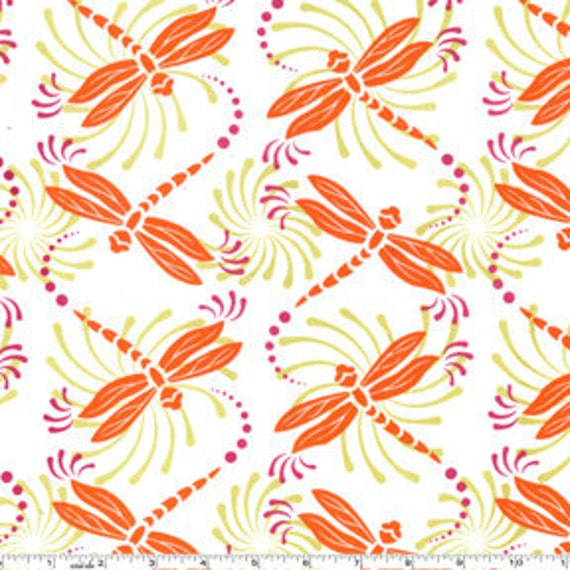 SALE-Dancing Dragonflies in White by Patty Young for Michael Miller 1 yard