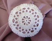 XS Bun Cover / Hair Net White Flower Style Hand Crocheted Toddlers